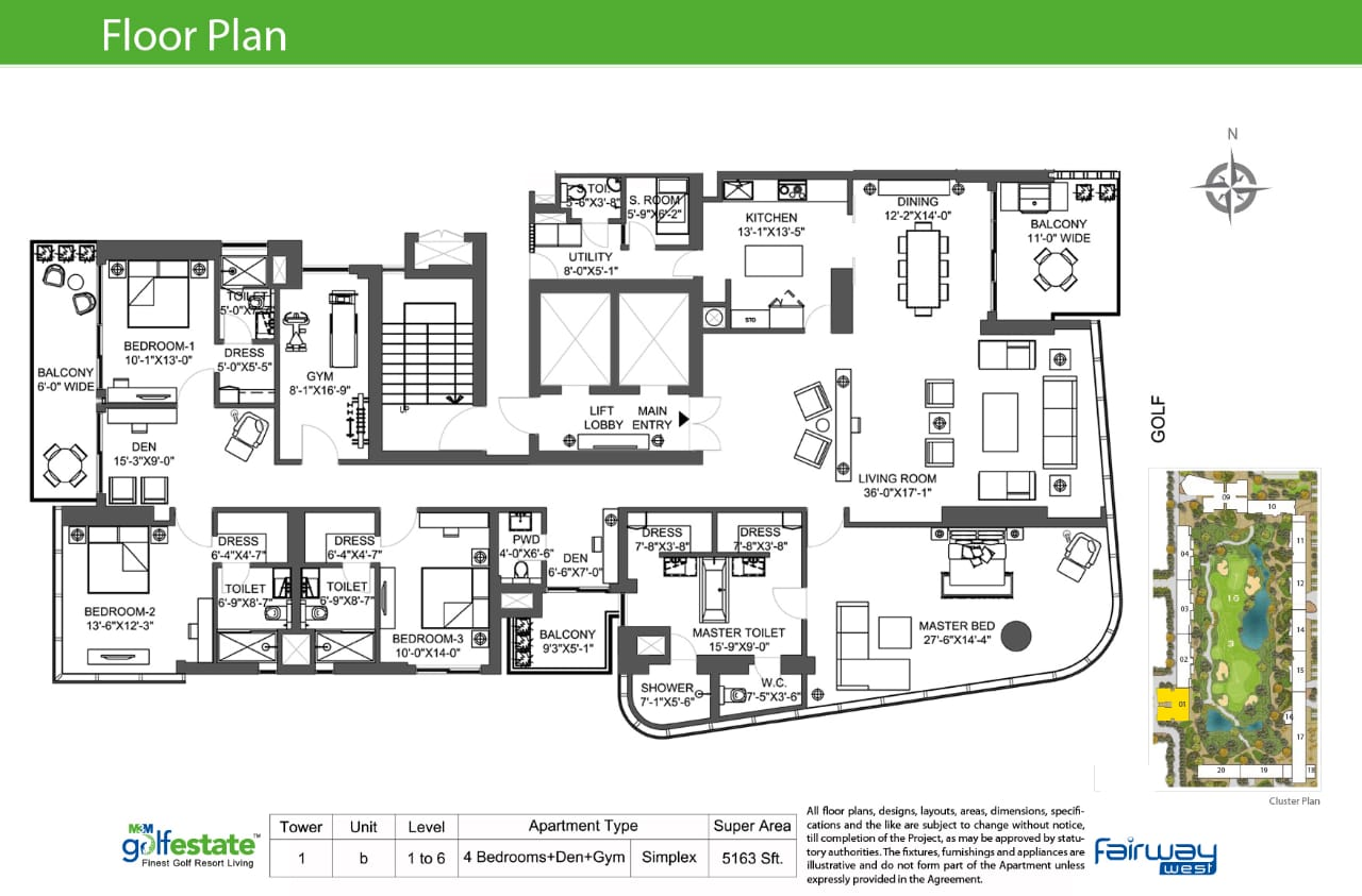 Floor plan of M3M Golf estate Fairway West 5163 Sqft