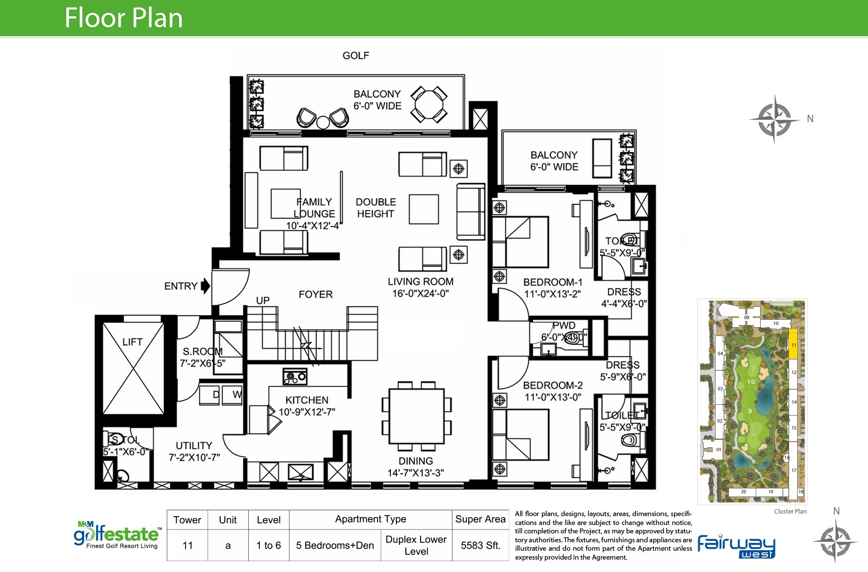 Floor plan of M3M Golf estate Fairway West 5583 Sqft