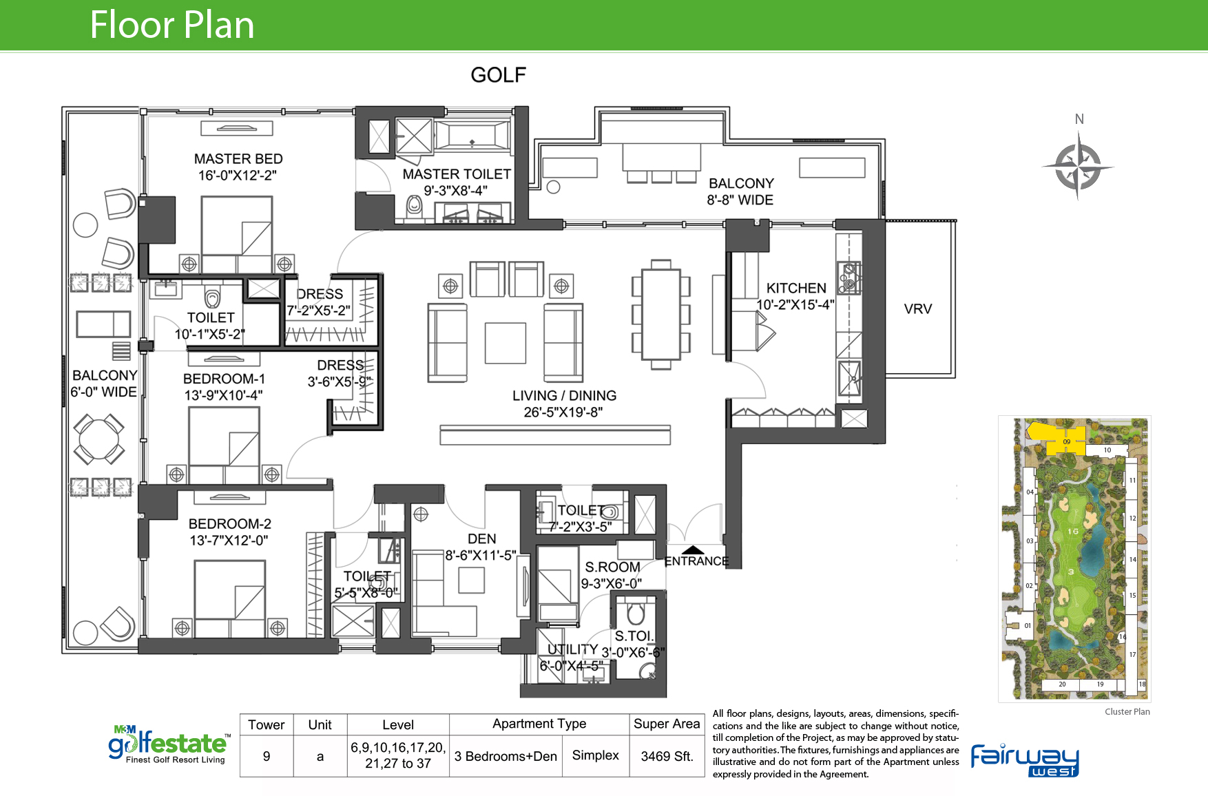 Floor plan of M3M Golf estate Fairway West 3469 Sqft