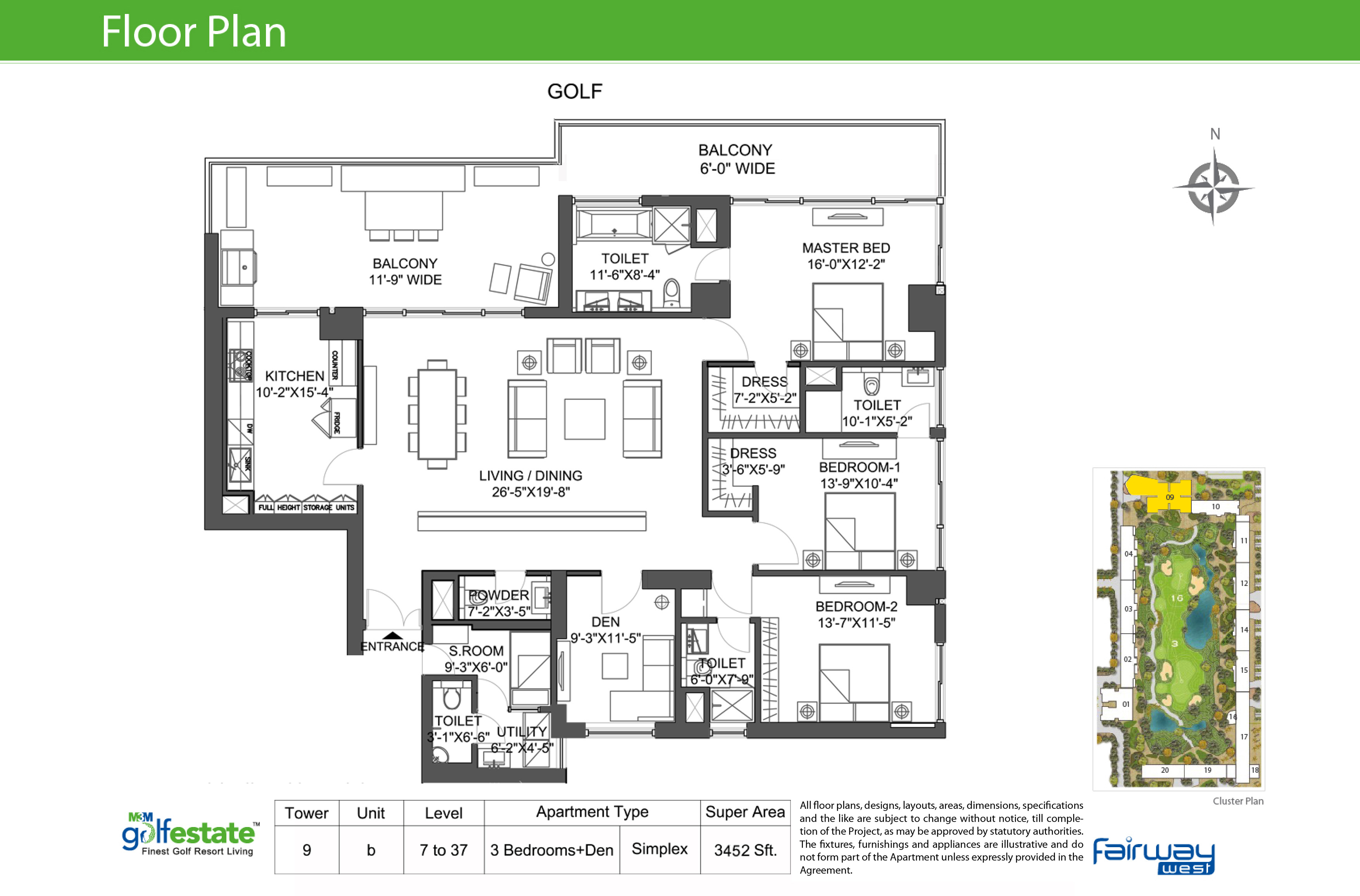 Floor plan of M3M Golf estate Fairway West 3452 Sqft