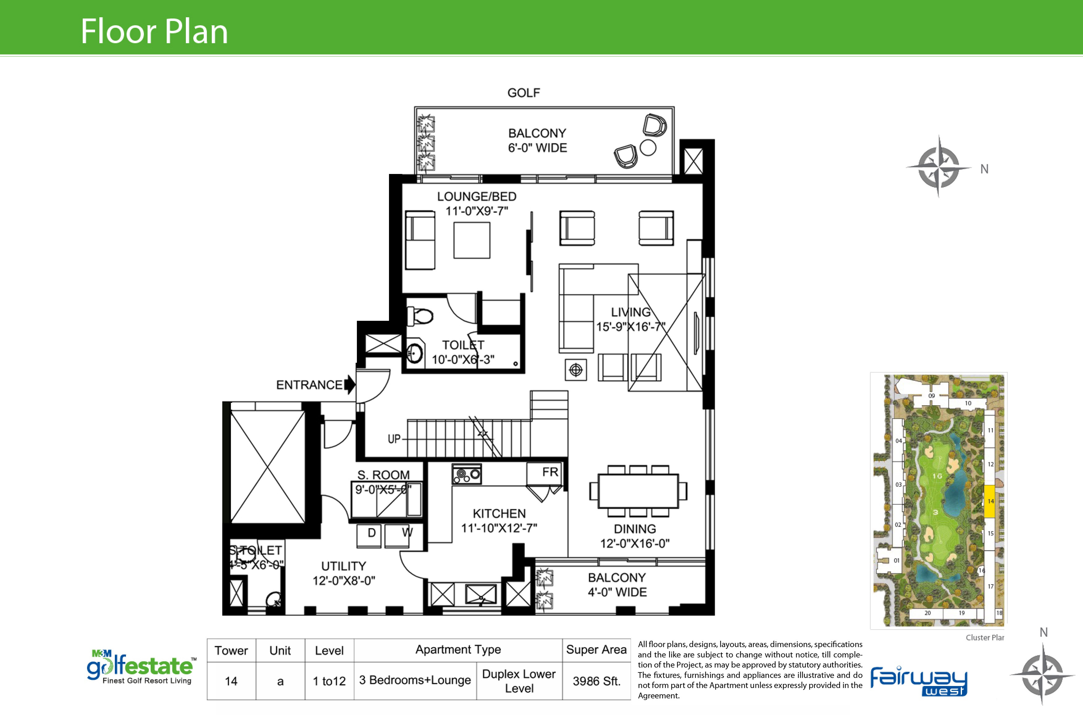 Floor plan of M3M Golf estate Fairway West 3986 Sqft
