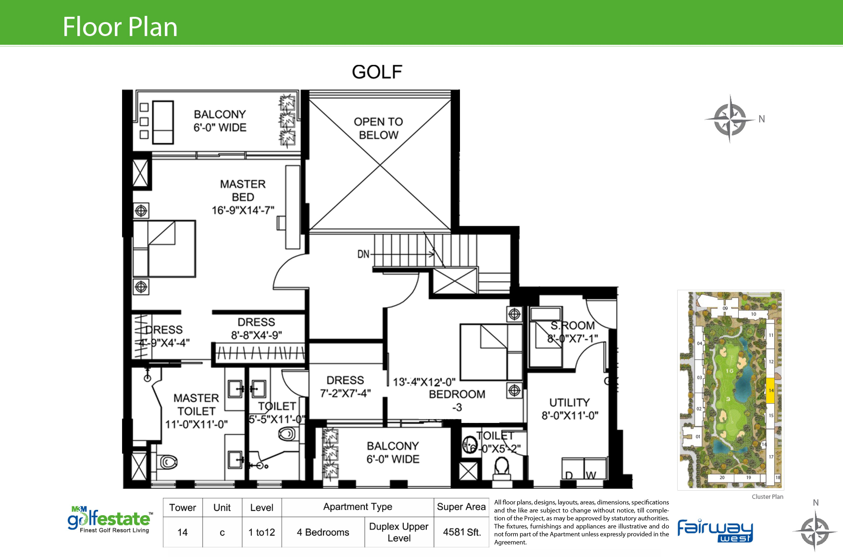Floor plan of M3M Golf estate Fairway West 4581 Sqft