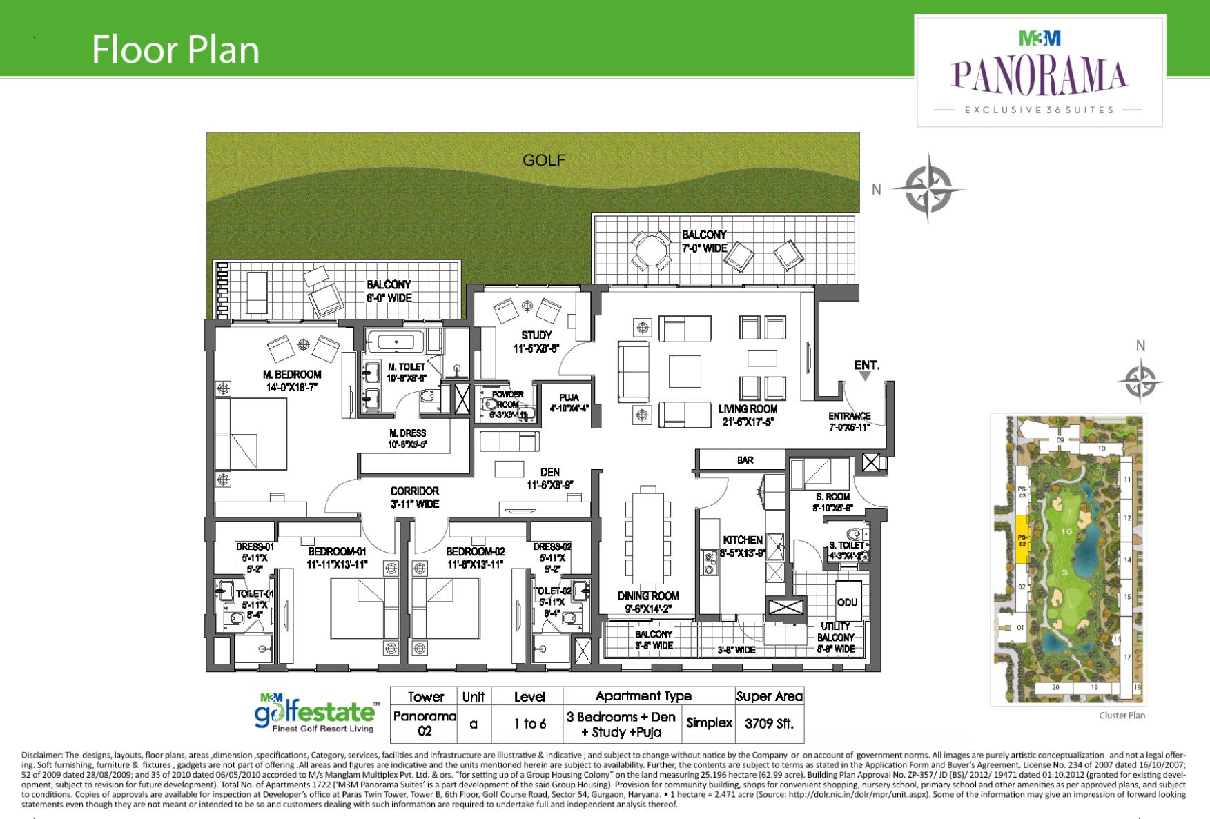 Floor plan of M3M Golf estate Fairway West 3709 Sqft
