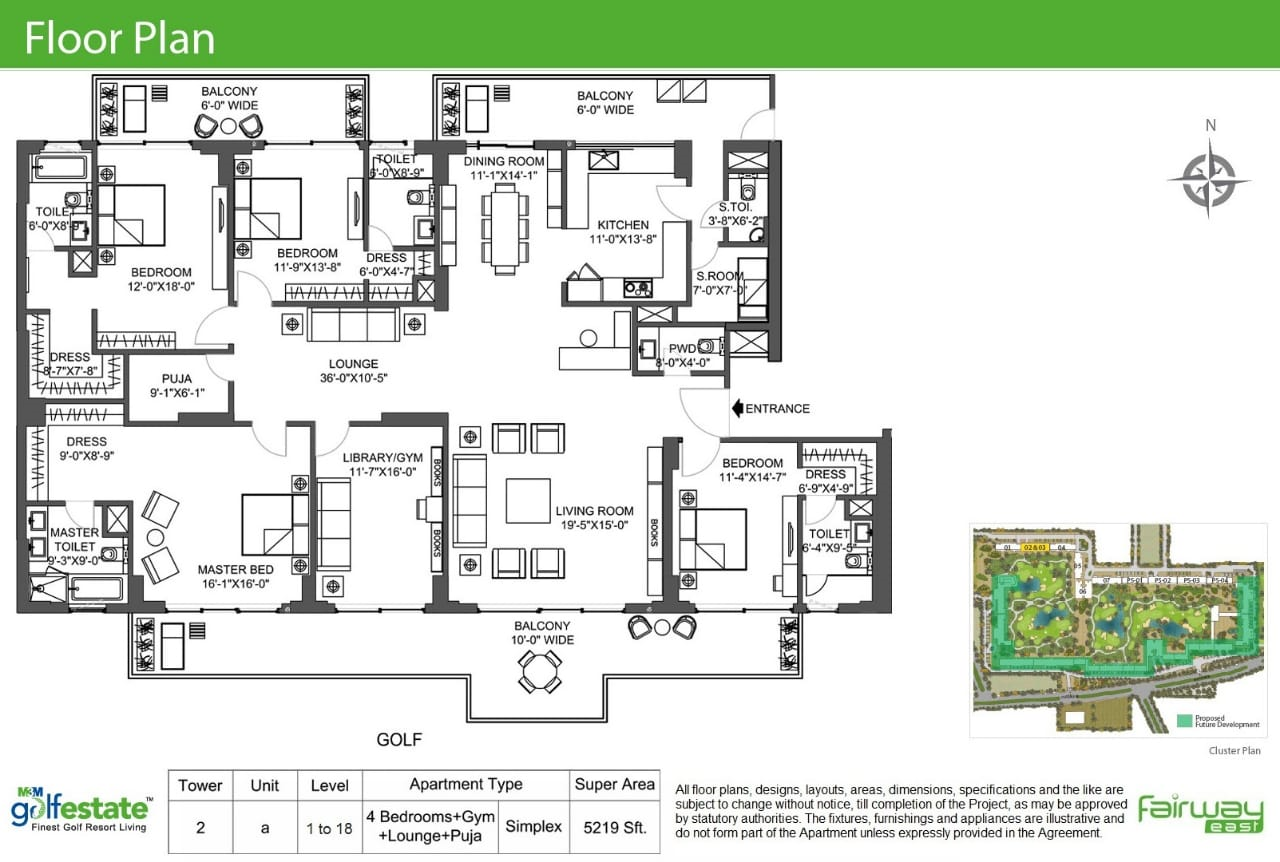 Floor plan of M3M Golf estate 3980 Sqft