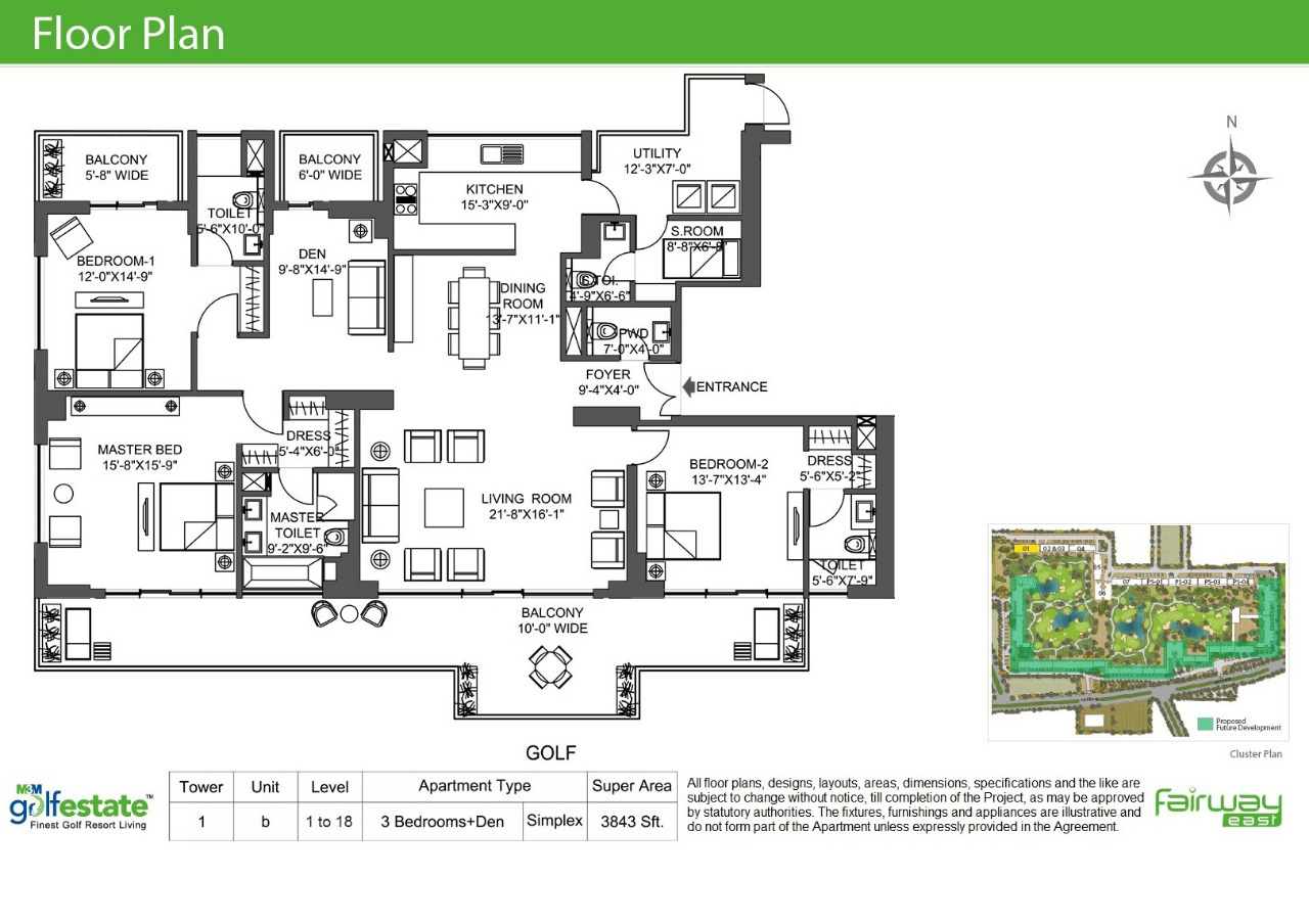 Floor plan of M3M Golf estate 3843 Sqft