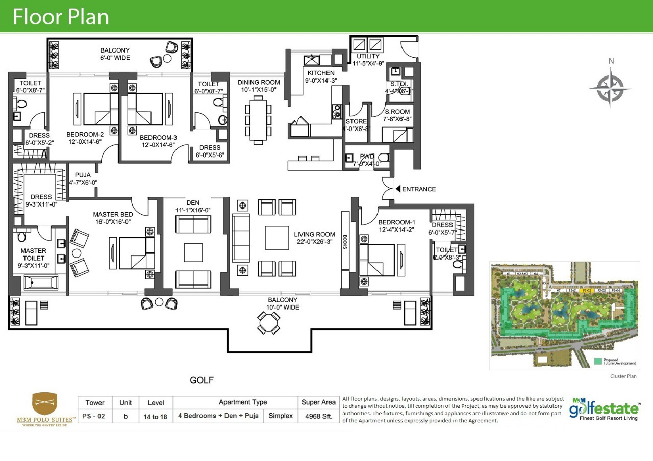 Floor plan of M3M Golf estate 4968 Sqft