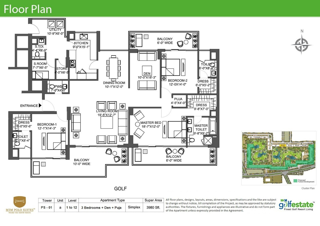 Floor plan of M3M Golf Estate Polo Suits 3980 Sqft
