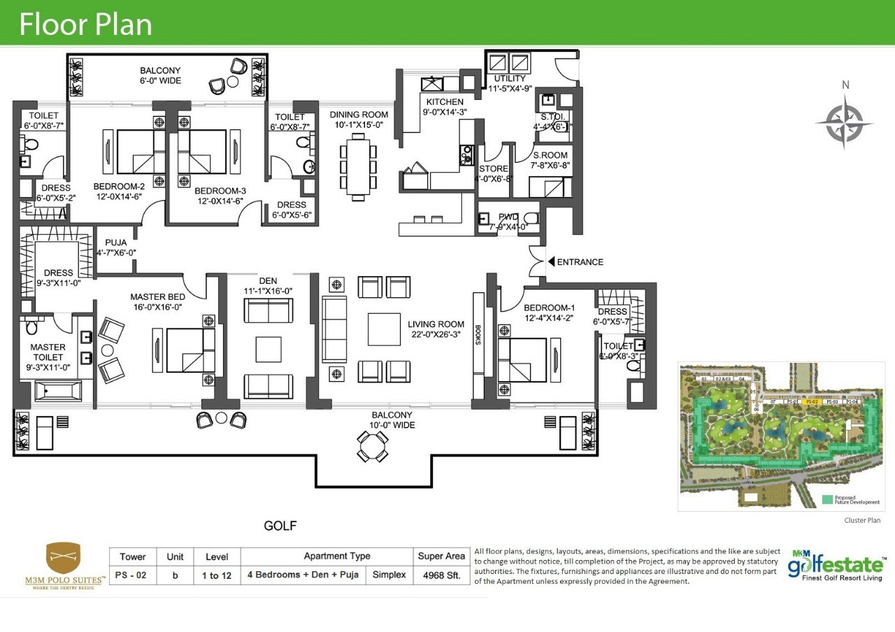 Floor plan of M3M Golf estate Polo Suits 4968 Sqft