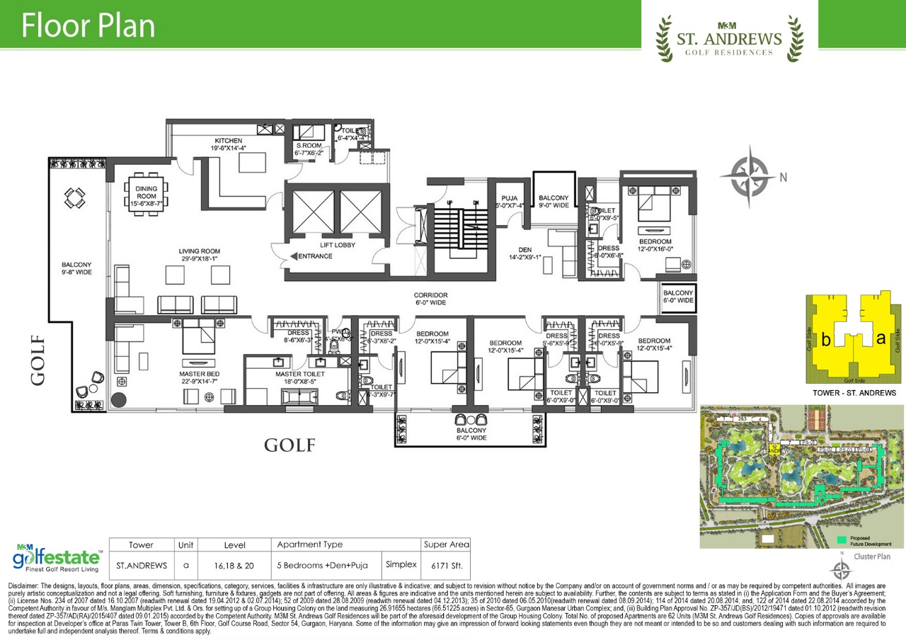 Floor plan of M3M Golf estate St Andrews 6171 Sqft
