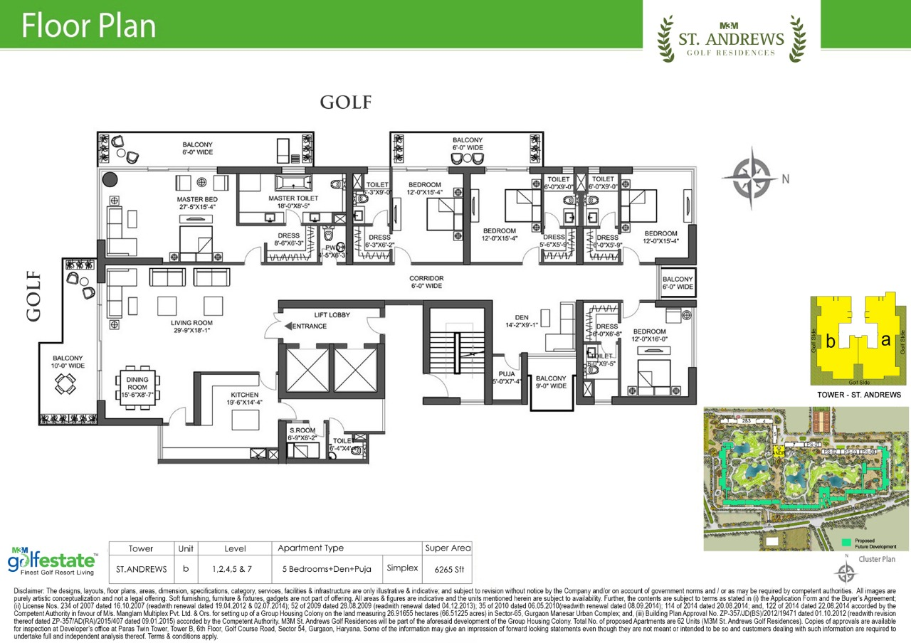 Floor plan of M3M Golf estate St Andrews 6265 Sqft