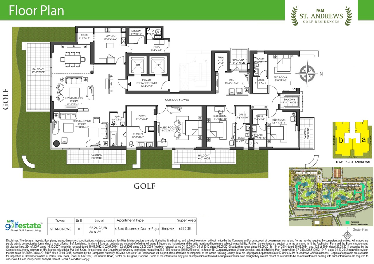 Floor plan of M3M Golf estate St Andrews 6335 Sqft